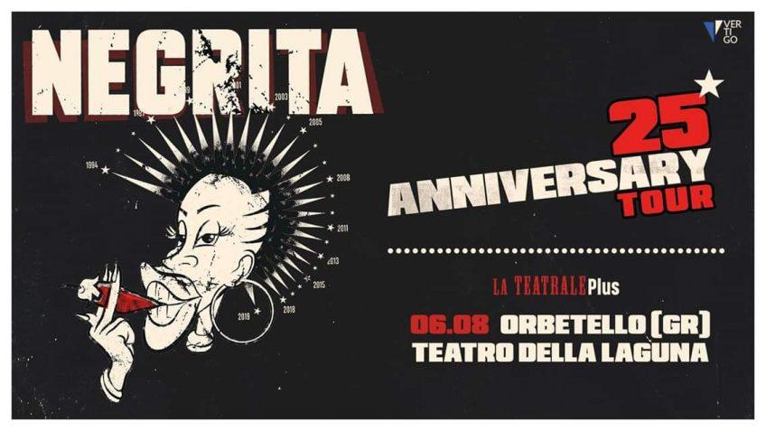 NEGRITA - 25° Anniversary Tour a Orbetello, il 6 Agosto 2019, al Teatro della Laguna, la band toscana dei NEGRITA tornano con un tour in Italia